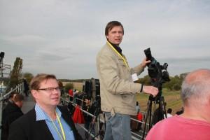 Dreharbeiten in Leipzig, Kameramann Kraschenninikov und Berater des Projektes A. Tchernodarov