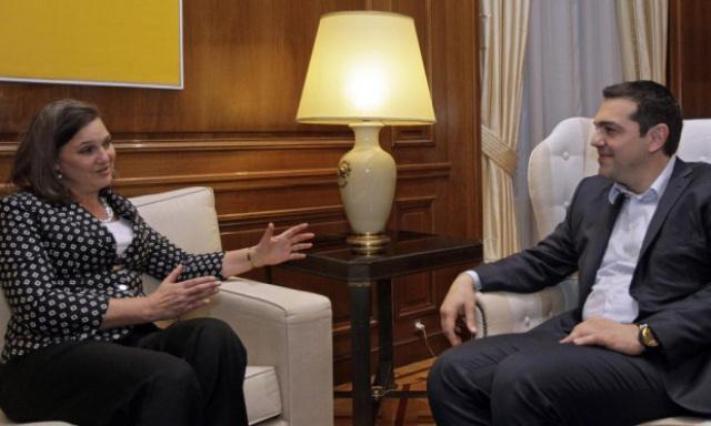 Alexis Tsipras meets Victoria -Fuck the EU- Nuland in Athens. Photograph - Orestis Panagiotou-EPA